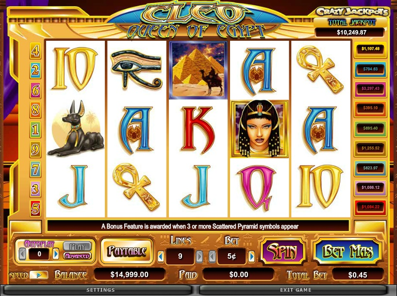 Cleo Queen of Egypt - A Free to Play Online Slot Machine