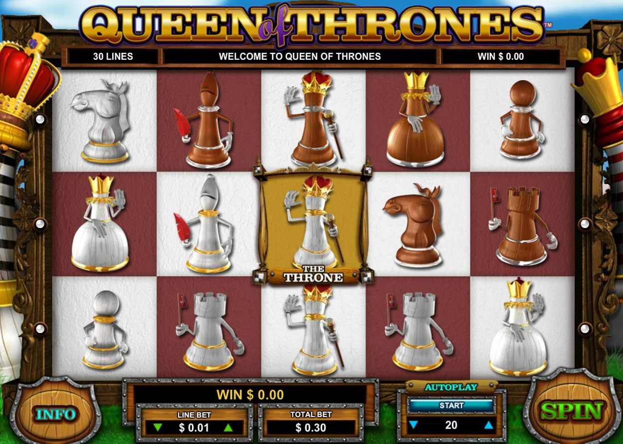 Queen of Thrones Online Slot Game Title Leander Games