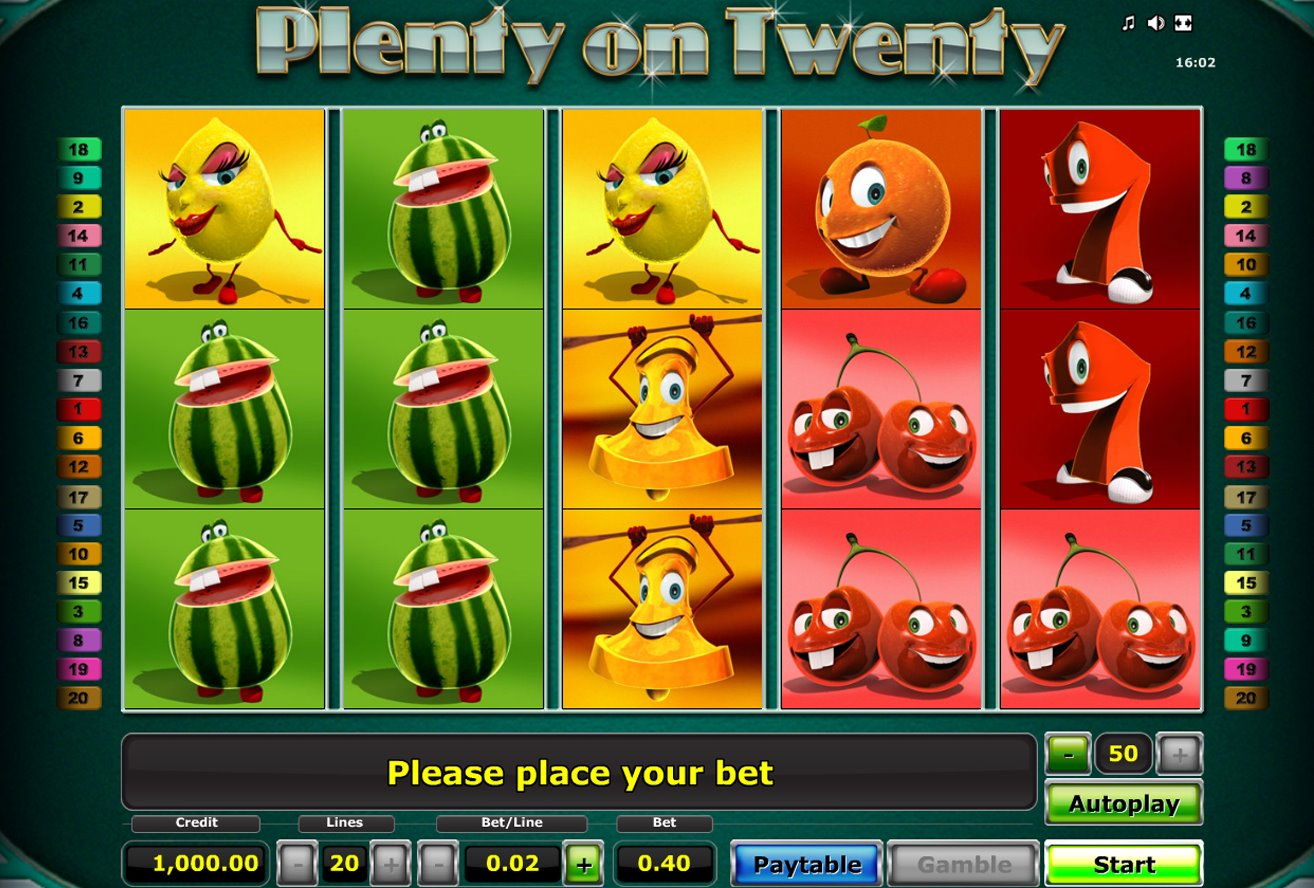 free slot game plenty on twenty