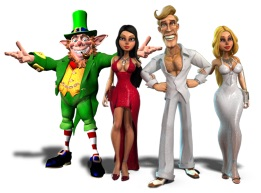 Rainbow Riches leprechaun and Mr Vegas and companions-small