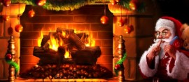 santa and fireplace
