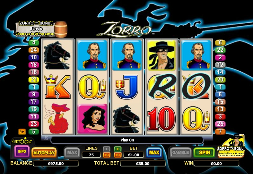 Slot machine zorro