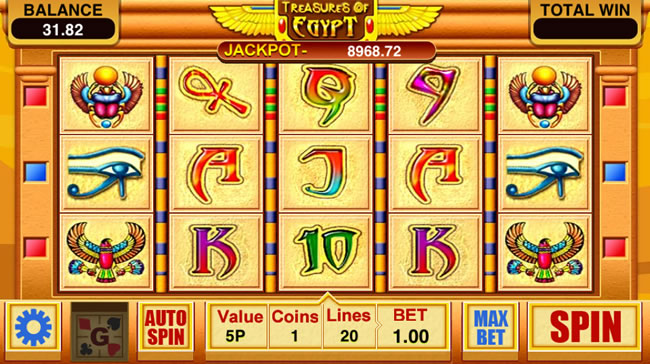 Treasures of the Pharaohs 5 Lines Slot - Play for Free Now