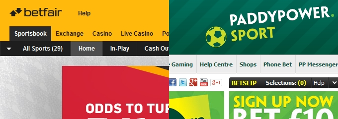 Betfair and Paddy Power websites
