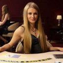 live dealer blonde girl croupier