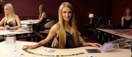 live dealer blonde girl croupier