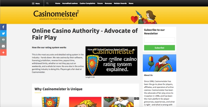 screenshot of new casinomeister website