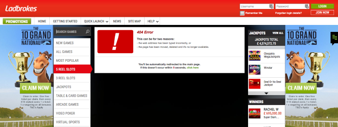 Ladbrokes website 404 error