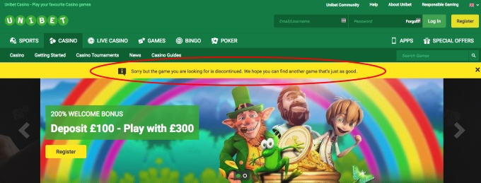 unibet has south park slot removed