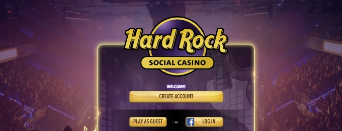 Hard Rock social casino login page