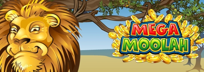 mega moolah slot logo and lion cartoon