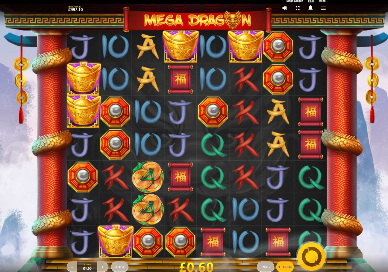 Mega Dragon slot by Red Tiger exciting cascade slot play demo