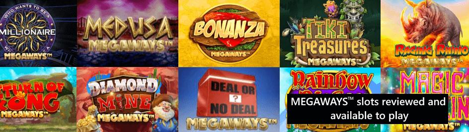 megaways slots logos in a banner